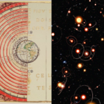composite image - celestial sphers on left - artist rendition of extrasolar systems on right