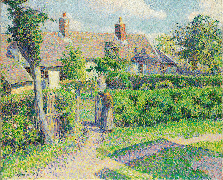 Camille_Pissarro_-_Peasants'_houses,_Eragny_beauty