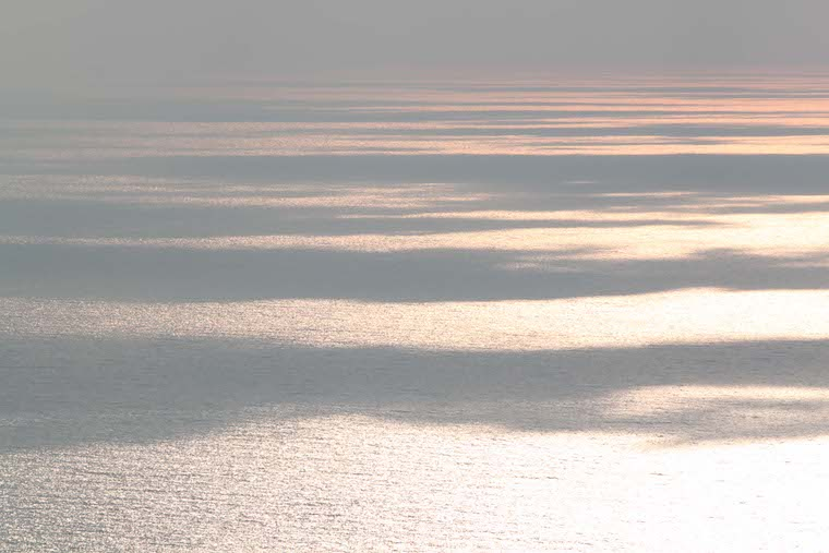 Silver sunset over the sea - site where the Tablet of Carmel was revealed